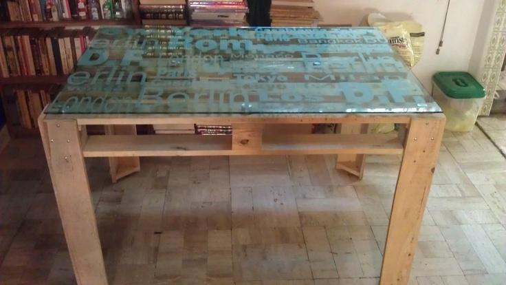Mesa para comedor a base de tarimas reciclado - Bases para mesa de comedor ...