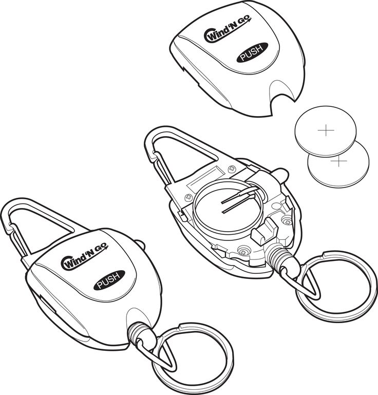 A line drawing of a disassembled flashlight/keychain