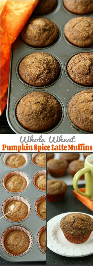 Whole Wheat Pumpkin Spice Latte Muffins...145 calories and 4 Weight watchers PP | cookincanuck.com #recipe