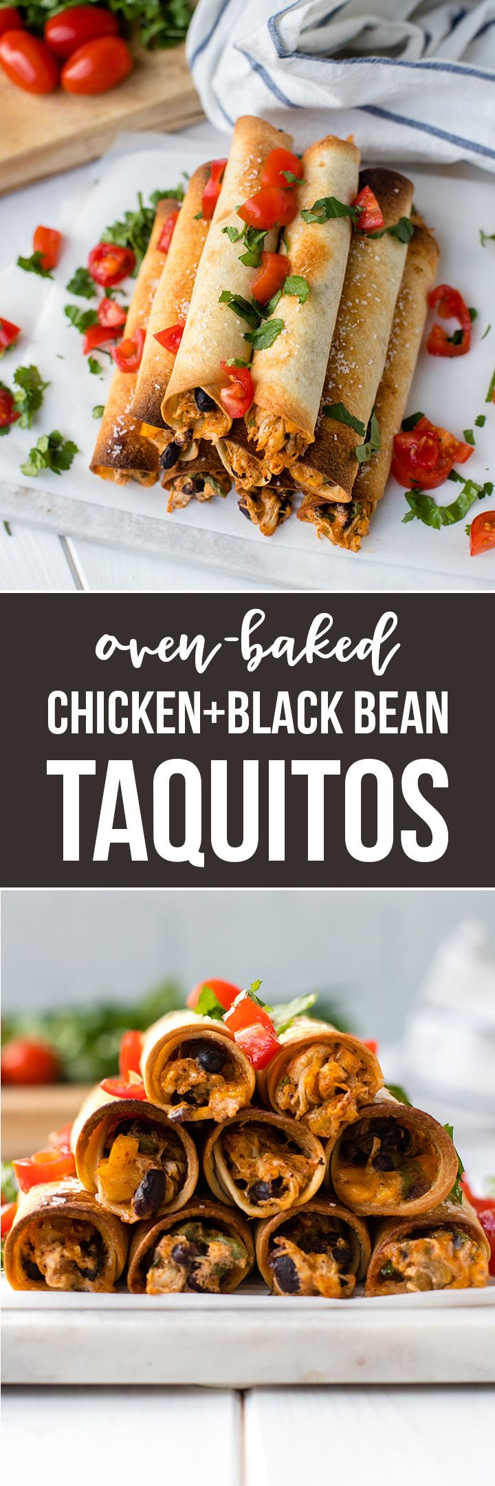 Oven-baked chicken black bean taquitos are perfect for game day, parties, appetizers, or dinner - easy to make-ahead and freezer-friendly! #texmex #taquitos #gamedaysnacks