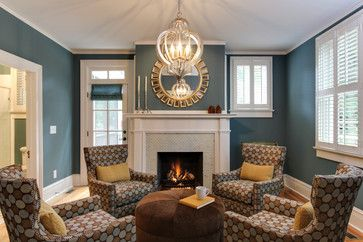 Sherwin Williams Riverway (with stonington grey) Historic Southern Home by Otrada LLC - traditional - Living Room - Otrada LLC