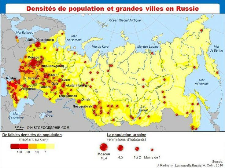 La population russe: un facteur de puissance ? Carte des densités et du maillage urbain en Russie. Source: © HISTGEOGRAPHIE.COM, d'après J. Radvanyi, La nouvelle Russie (4ème édition), A. Colin, 2010