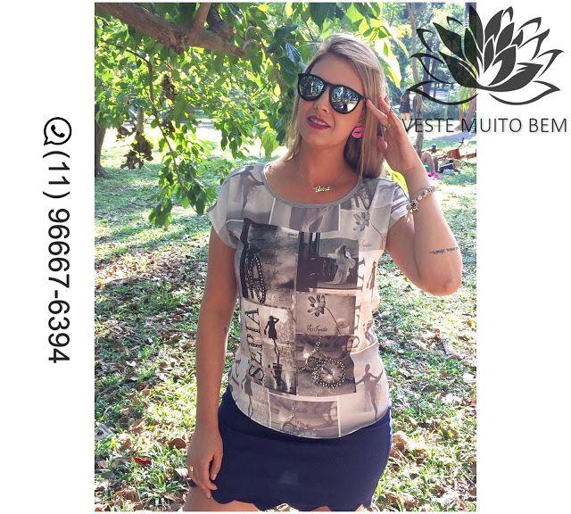 Camiseta de Malha Estampada R$ 6500 (somente loja física) #vestemuitobem #moda #modafeminina #modaparameninas #estilo #roupas #lookdodia #roupasfemininas #tendência #beleza #bonita #gata #linda #elegant #elegance #jardimavelino