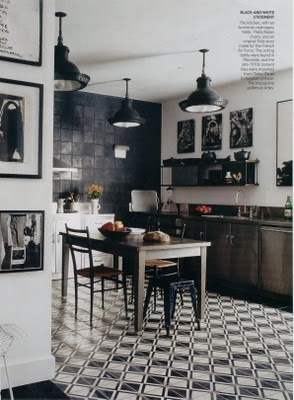 Dig the light fixtures and industrial chic style of this kitchen!