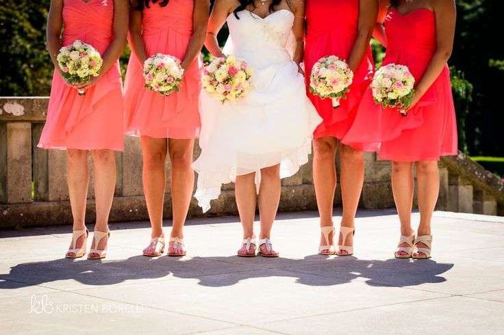 Bride and her bridesmaids. Shoe photo. Pink and white bouquets. Pink short bridesmaid dresses  (Kristen Borelli Photography, Victoria Wedding Photography, Hatley Castle Wedding Photography, Destination Wedding Photographer, Victoria Wedding Photographer, Hatley Castle Wedding Photographer, Nanaimo Wedding Photographer, Vancouver Island Wedding Photographer, Vancouver Island Wedding Photography, Prince George Wedding Photographer)