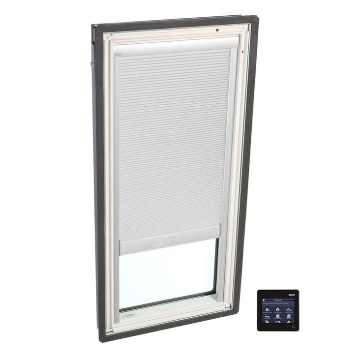 VELUX 22-1/2 in. x 23 in. Fixed Deck-Mount Skylight with Laminated Low-E3 Glass and White Solar Powered Room Darkening Blind