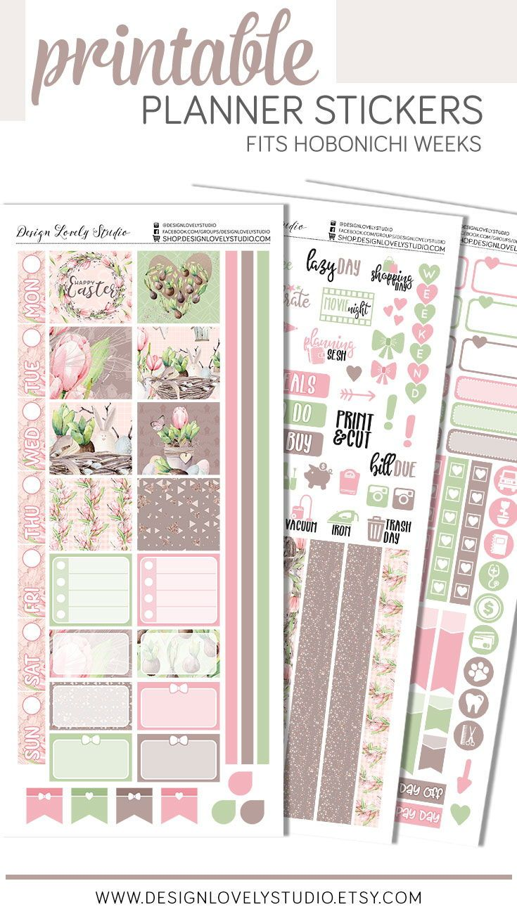 Easter Planner Stickers Kit Printable Hobonichi Weeks Planner Stickers Spring Planner Sticke Planner Stickers Diy Planner Stickers Printable Planner Stickers