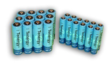Tenergy High capacity NiMH Rechargeable battery package: 12 AA 2600 mAh + 12 AAA 1000 mAh by Tenergy. $22.99. Features and Benefits * High quality AA and AAA Size rechargeable Nickel Metal Hydride (Ni-MH) battery  top of line. * Ultra high capacity batteries: AA 2600 mAh and AAA 1000 mA * Economic package of 12 AA and 12 AAA provides huge saving * Exact replacement for standard AA and AAA size battery in all the devices * Provides ultra long use time per charge * Advanced Ni...