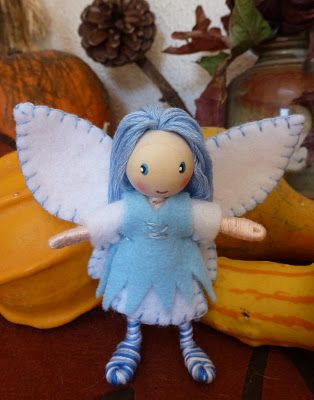Such a pretty face, and I like the blue hair and footsies: Winter Fairy Bendy Doll
