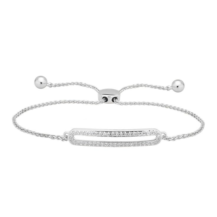 Ladies 10k Solid White Gold .25 Ct Diamond Tennis Adjustable Bolo Bracelet NEW #CaratsForYou #Tennis