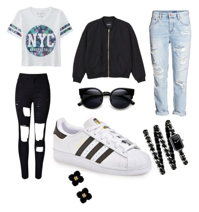 """""""Superstar babe"""" by andreasol on Polyvore featuring adidas, Aéropostale, H&M, Monki, Chanel, Tory Burch, women's clothing, women, female and woman"""