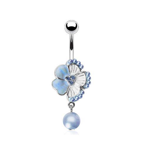 Navelpiercing parel hanger met bloem blauw