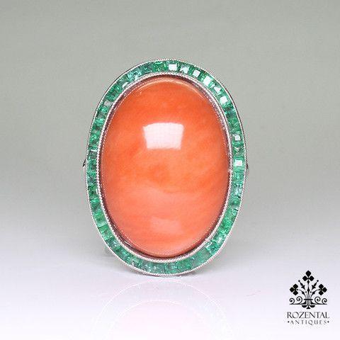 Antique Art Deco Platinum Diamond – Coral