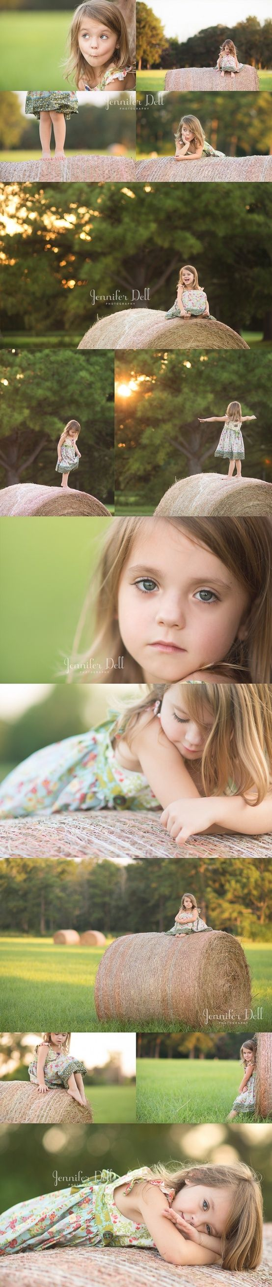 little girl session on hay bales