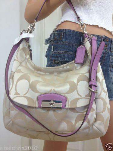 Coach Kristin Large Khaki Purple Signature Crossbody Hobo Shoulder Bag Purse   eBay
