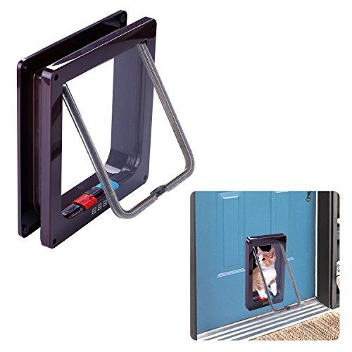 Kimfoxes Pet Doors for Cats, Indoor Plastic Pet door Lockable Cat Flap Plastic 4-Way Locking Pet Gate With Telescoping Frame for Puppy Little Dog(L,Brown) ** Find out more about the great product at the image link.  This link participates in Amazon Service LLC Associates Program, a program designed to let participant earn advertising fees by advertising and linking to Amazon.com.
