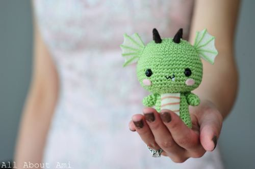 crocheted little dragon.