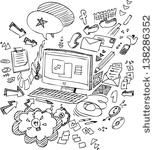 Black and white illustration of a computer and office objects - stock vector