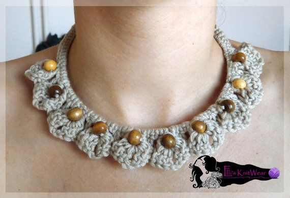 Crochet Necklace With Beads by EllisKnitwearShop on Etsy