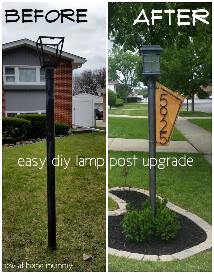 Lamp post idea! A really easy way to add some curb appeal - How to quickly and easily update your yard lamp post - by yourself! Easy solar conversion tutorial, step by step, including links to supplies and lighting ideas!