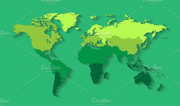 Wrold map with countries green by TeaGraphicDesign on @creativemarket
