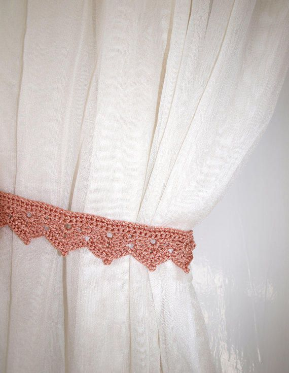 Curtain ties crochet Beige window decor Curtain holders Curtain holdbacks Curtain hold backs Curtain tiebacks Drapery from CrochetedCosiness on Etsy.