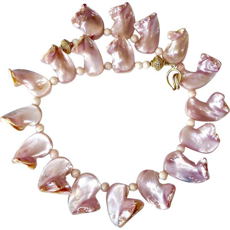 Pink Mother of Pearl Shell Necklace -- found at www.rubylane.com @rubylanecom #VintageBeginsHere