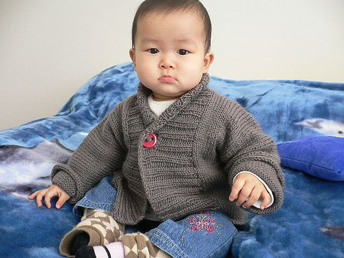 Ribbed Baby Jacket - This adorable baby cardi by Debbie Bliss is available in sizes 6-24 months.