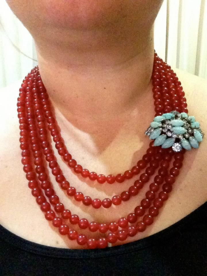 Red jade and a vintage brooch I found on ebay