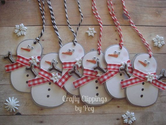 Christmas Gift Tag Snowman Gift Tag Winter by CraftyClippingsbyPeg