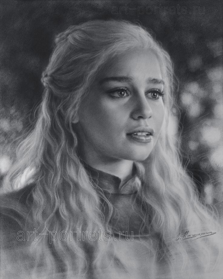 Portrait Drawing Emilia Clarke by Dry Brush by Drawing-Portraits on DeviantArt