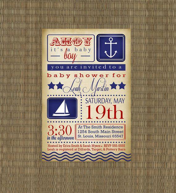 Vintage Nautical Baby Shower Invitation - Printable Sailboat Invitation. $15.00, via Etsy.