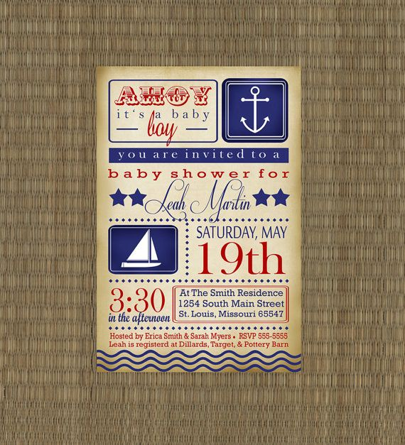vintage nautical baby shower invitation baby boy sailboat invitations red and blue shower invite
