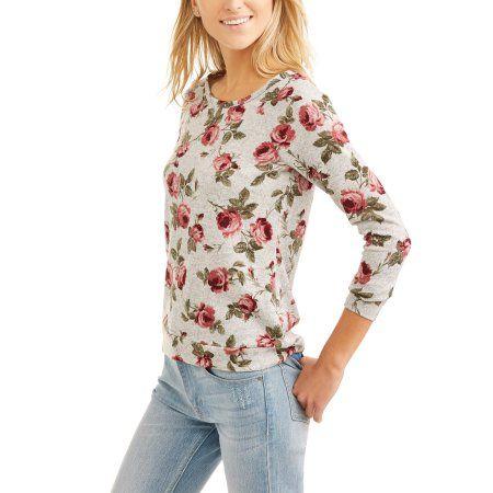 No Comment Women's Cozy Scoop neck Open Back Sweatshirt, Size: Small, Multicolor