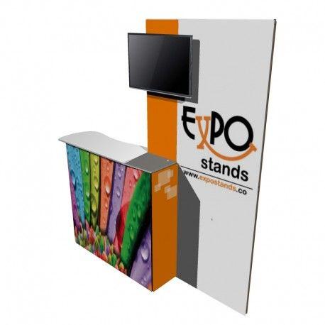 Sistema portátil ExpoStand, Punto de venta y atención itinerantes con backing y soporte para un monitor o TV de hasta 24 pulgadas, es extremadamente fácil de armar, desarmar. Ideal para exhibición de su marca en cualquier lugar.