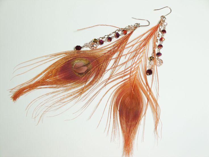 クジャク羽根×ガラス ピアス