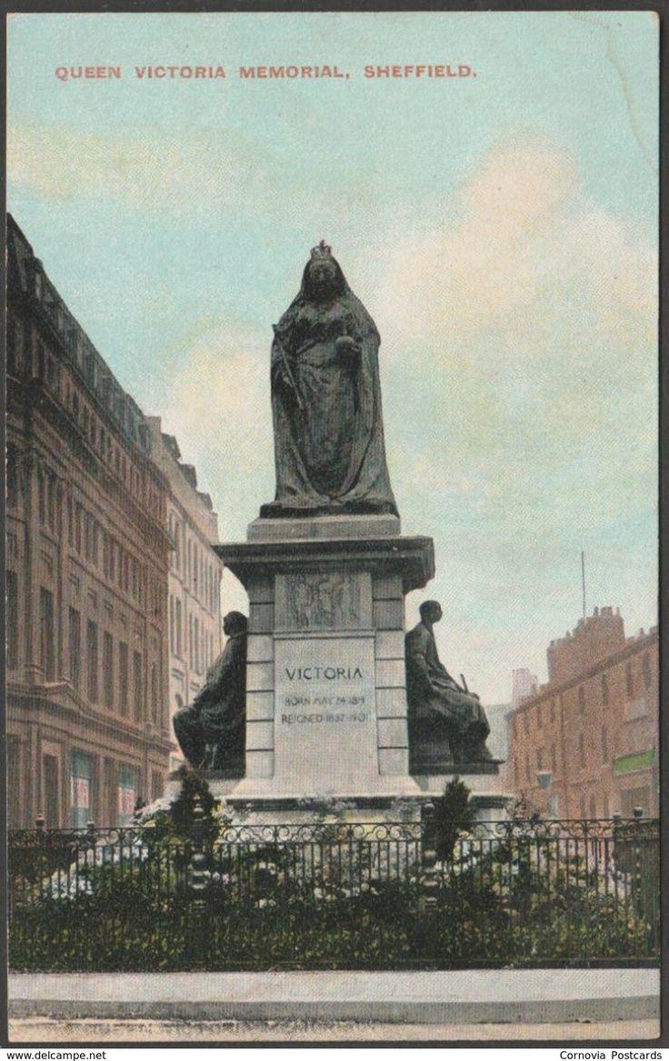 Queen Victoria Memorial, Sheffield, Yorkshire, c.1910 - Postcard
