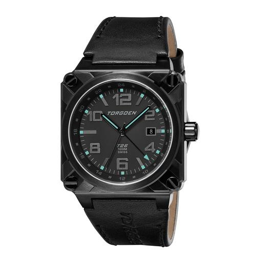 Torgoen T26108 aviation watch with square, ion-plated stainless steel case, black face with luminescent hands and hour markers on a black leather band.