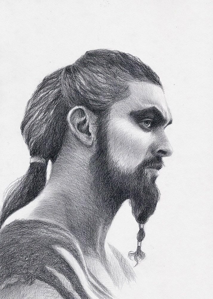 Game of Thrones fan art Original pencil drawing portrait of Khal Drogo actor Jason Momoa, gift for fans GOT by KorobovArt on Etsy