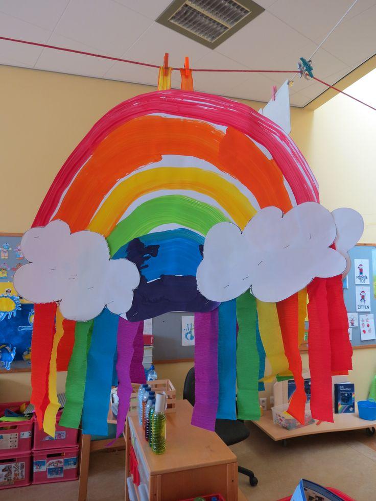 Regenboog schilderen met dikke verfkwasten
