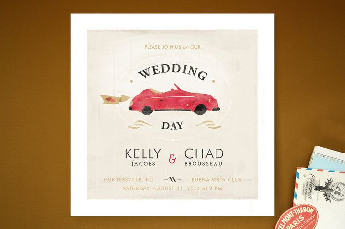 Super fun vintage car wedding invitations!