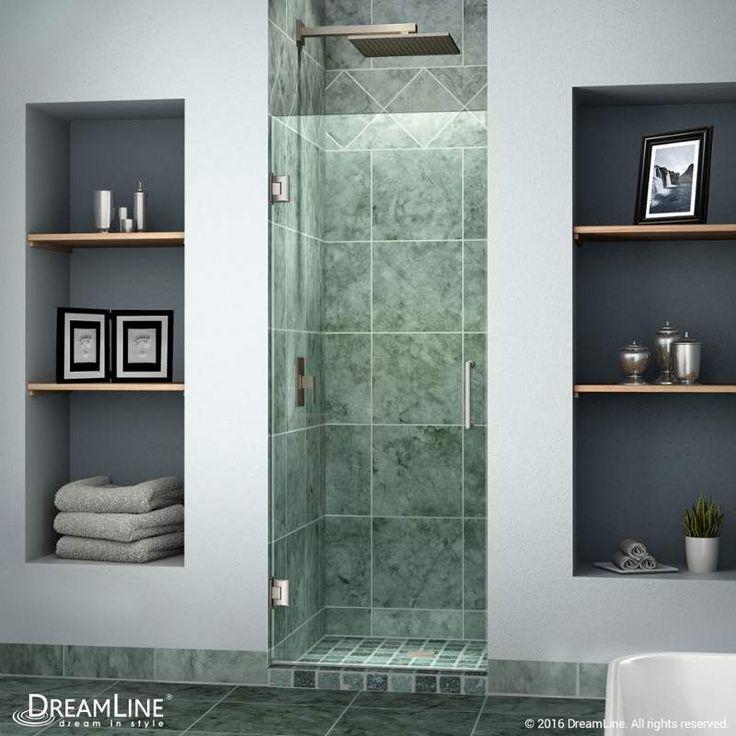 "DreamLine SHDR-20247210F Unidoor 72"" High x 24"" Wide Hinged Frameless Shower Doo Brushed Nickel Showers Shower Doors Swing"