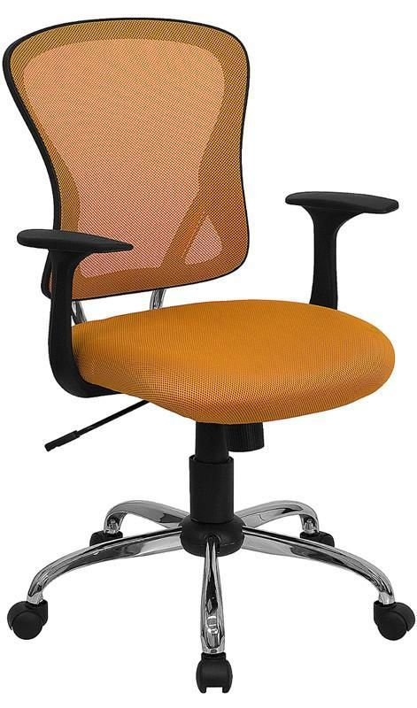 Mid-Back Orange Mesh Office Chair with Chrome Finished Base H-8369F-ORG-GG by Flash Furniture