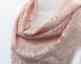 Light Pink lace scarf, Pink bandana, Gift for Wife, Birthday gift for Cancer Friend, Holiday Gift, Rose Pink Scarf, Gift for coworker by blingscarves. Explore more products on http://blingscarves.etsy.com