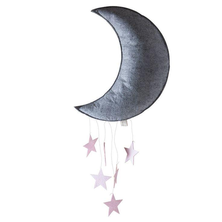 Konges Sløjd måne uro m. lyserøde stjerner | LirumLarumLeg