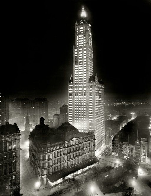 New York noir circa 1913. The Woolworth Building at night. 8x10 inch dry plate glass negative, Detroit Publishing Company.