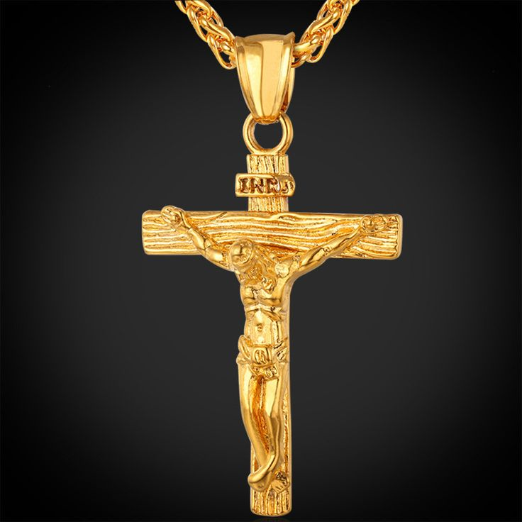 U7 Cross Necklace Women/Men Jewelry Wholesale Trendy Platinum/18K Real Gold Plated INRI Crucifix Jesus Piece Cross Pendant
