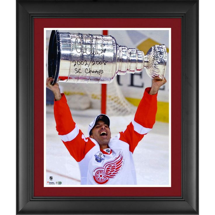 "Chris Chelios Detroit Red Wings Fanatics Authentic Framed Autographed 16"" x 20"" Raising Stanley Cup Photograph with 2002/2008 SC Champs Inscription"