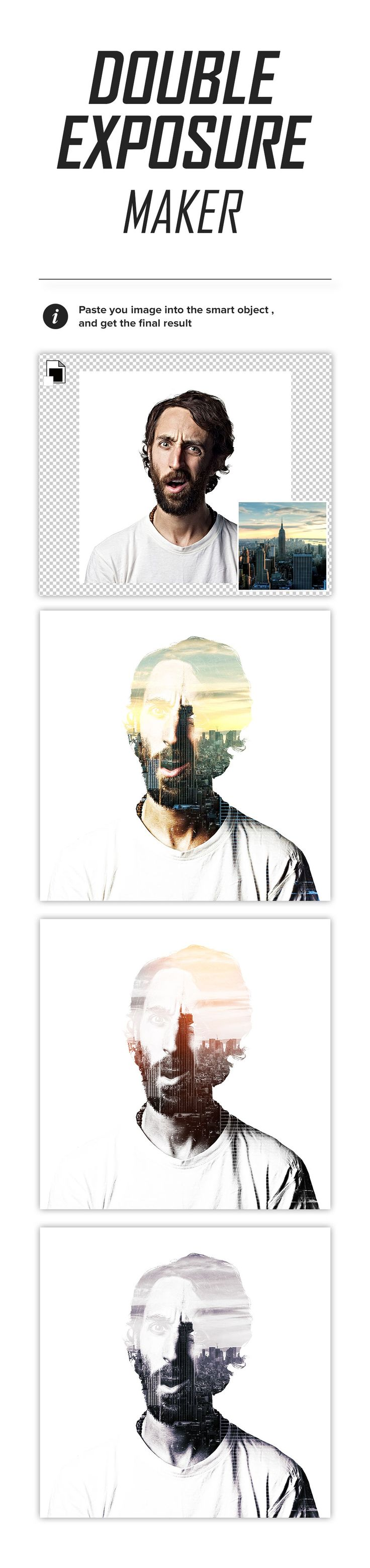 Cool & free Photoshop template with effect for your photos or texts from PixelMustache. Get a cool double exposure effect for your photos in seconds. Download from Dealjumbo and enjoy ;) - adobe photoshop *.psd file - very easy to customize and edit in Adobe Photoshop - use for personal
