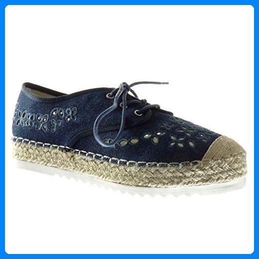 Angkorly - damen Schuhe Espadrilles Derby-Schuh - Plateauschuhe - Offen - Perforiert - bestickt - Seil Keilabsatz high heel 3 CM - Marineblauen R9 T 39 - Espadrilles für frauen (*Partner-Link)